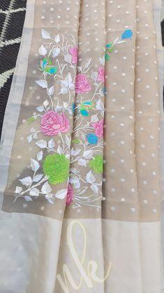 Buy skin color Pure handloom kora sarees with embroidery work 8897195985 Kora Silk Sarees, Bandhani Saree, Siri, Lehenga, Weaving, Designers, Pure Products, Embroidery, Fabric