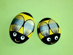 Bumble bees 2 Home and living figurines outdoors & garden summer patio decor painted rocks by RockArtiste, $24.00