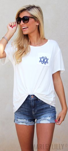 Comfy casual style made easy with our Monogrammed Boyfriend T-Shirt! Now in *NEW* colors!