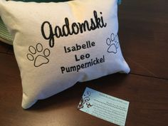 Family Pet Pillow Personalized Monogrammed Custom Last Name with Pet names Embroidered Perfect Gift by NYLAKELLEYdesigns on Etsy