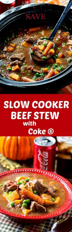A hearty Slow Cooker Beef Stew with Coke® with tender chunks of beef, onion, carrots, sweet potatoes, and peas is just the meal for a chilly…  @ICookUEat