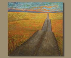 abstract painting country road painting by SageMountainStudio
