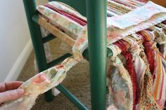 DIY: How to Weave a Chair Seat on a Ladder Back Chair - using strips of fabric - via Anna Nimmity