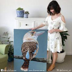 Kookaburra oil painting - Australian animal art, bird art, interior design, fine art, Aussie art. Instagram: @elizarose_art Facebook: @artofelizarose Australian Animals, Australian Art, Bird Art, Oil Paintings, Unique Art, Illusions, Fashion Art, Watercolor, Facebook