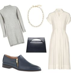 The Creative Job:  For When PMS Gets The Best Of You Take the opportunity to wear soft and flowy pieces today by layering a cozy sweater dress over a longer silk one. And sharpen up the look with comfortable flat loafers.