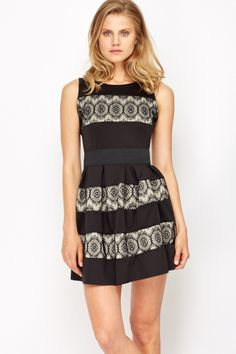 Lace Insert Contrast Party Dress @ Everything5pounds.com