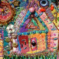 little house - beads and stitches - I can make this with wool and beads :)