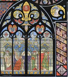 Stained Glass Church Cathedral Abbey Windows Vibrant and Colorful Late 1800s French Chromolithograph