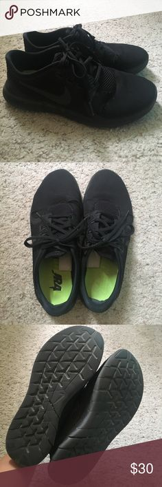 Black nikes. Used but still has some miles in them. There are some signs of wear. Nike Shoes Sneakers