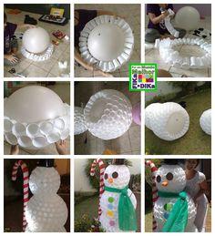 Boneco de neve feito com copinhos descartáveis. PAP em imagens.