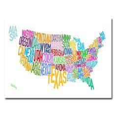 Trademark Art United States Text Map Canvas Wall Art by Michael Tompsett, Size: 22 x Multicolor 3 Canvas Art, Map Canvas, Artist Canvas, Canvas Size, Abstract Canvas, Abstract Print, Usa States Names, United States Map, 50 States