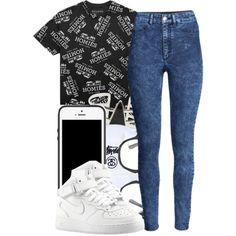 "High-Waisted Denim Wash Pants, Nike Air Force 1s, Black-Framed Glasses, IPhone 5S, ""Censor"" Black/White T-Shirt"