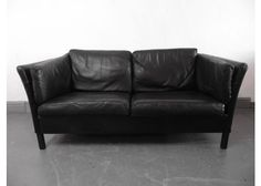 Vintage Danish Black Leather Sofa, 1960s