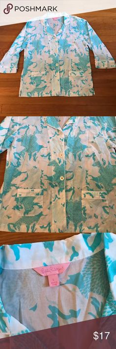 Lilly Pulitzer Pajama Top Beautiful Blue and white PJ top! Top only! Fabulous Condition! No noticeable wear Lilly Pulitzer Intimates & Sleepwear Pajamas