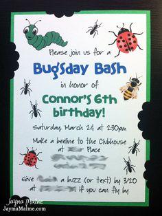 Bugsday Bash Bug Theme Birthday Invitations Custom by JaymaMalme, $2.00