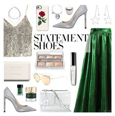 """#PolyPresents: Statement Shoes"" by dora04 ❤ liked on Polyvore featuring Alice + Olivia, Hourglass Cosmetics, Jimmy Choo, Casetify, Yves Saint Laurent, Smith & Cult, NYX, Too Faced Cosmetics, metallics and midiskirt"
