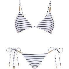 Melissa Odabash Verona shoulder-strap triangle bikini (400 BRL) ❤ liked on Polyvore featuring swimwear, bikinis, bikini, swimsuits, swim, bathing suits, black stripe, triangle swimsuit, swimming bikini and striped bathing suit