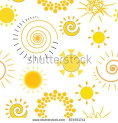 Seamless texture with different yellow vector suns on white background. Cartoon Sun, Seamless Textures, Illustrations, Swirls, Circles, Paisley, Projects To Try, Doodles, Father