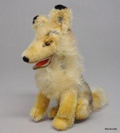 Steiff #Collie #Dog Sitting Mohair Plush 12cm 5cm ID Button 1960s Vintage #Steiff AllOccasion