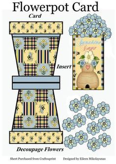 Sunshine Days Flowerpot Card With Decoupage 3d Cards, Pop Up Cards, Shaped Cards, 3d Prints, Paper Flowers Diy, Decoupage Paper, Little Boxes, Homemade Cards, Flower Pots