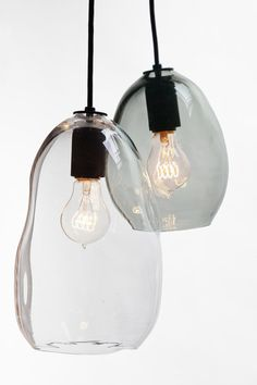 Bubble Hand Blown Glass Industrial Pendant- Full Clear