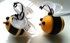 Bee Easter Ornaments Paper Quilled in Black by WintergreenDesign