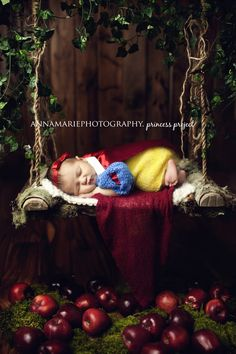 Snow White inspired newborn picture. Check out her little crocheted princess outfit