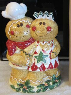 Lang Cookie Jar Gingerbread Man and Woman Holiday Harlequin New in Box