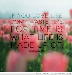 If you love life, don't waste time, for time is what life is made up of. #wisdom #quotes #sayings
