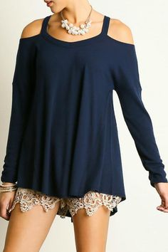 This top features a cold shoulder long sleeves and a warm material! care instructions: hand wash cold water separately color will bleed no bleach hang to dry! Cold Shoulder Style Top by Umgee USA. Outfits For Teens, Summer Outfits, Cute Outfits, Cute Tops, Shirt Sleeves, Blouse, Long Sleeve Tops, Autumn Fashion, Cold Shoulder Dress