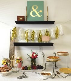 Farmhouse Chic Bridal Shower Brunch   Gold tassel garland, vintage cake plates, DIY mason jar florals & mimosas