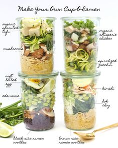Introducing: Cup-O-Ramen. And guess what, its easy, inexpensive, versatile, healthy and stands the ultimate test of travel! Mason Jar Lunch, Mason Jar Meals, Meals In A Jar, Mason Jar Food, Mason Jar Recipes, Snack Jars, Ramen Recipes, Vegan Recipes, Cooking Recipes