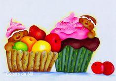 bonecos gingers com frutas e cupcake