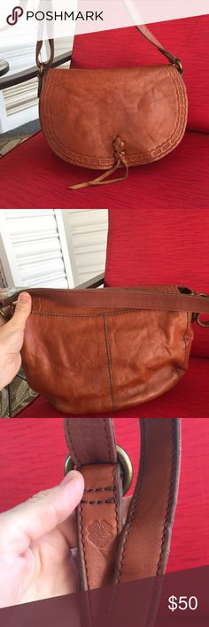 "Lucky Brand Cognac Hobo Shoulder Bag Crossbody Gorgeous and looks new-used 1 time and stored.  Very roomy, nice vintage vibe leather and adjustable crossbody shoulder strap.  Magnetic front pocket.  No wear or stains etc.  non smoking home too.  Lightweight.  Leather!! 10""x6""x4"" Lucky Brand Bags Shoulder Bags"