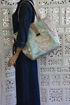World Map Print Large Tote Bag- Blue -Beige Eco-friendly Purse-Shoulder Bag-Everyday Purse-Beach, Market,Travel Bag on Etsy, $65.00