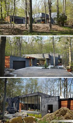 18 Modern House In The Forest // The contrast between the black brick and wood p. - 18 Modern House In The Forest // The contrast between the black brick and wood panels on this fores - Black Brick, Brick And Wood, Residential Architecture, Modern Architecture, Casas Containers, Building A Container Home, Container Homes, Forest House, Bungalows