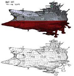 ヤマト2は初代に鞭打って出撃するからいいとして、3辺りからは新造艦にすればいいのに…とか考えつつ、これもなんとなくボールペンで描いたものに着色。 しかし、ヤマトと合理性ってほんと相性悪いっスね…