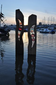 'Nautilus' & 'Raven' at sunset on the River Adur, Sussex, UK.