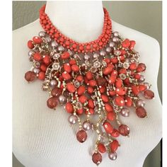 """Boho Bib Style Coral Mixed Material Necklace Mixed materials. Measurements: 17"""" round, 6.5"""" drop at center. May have some dulling on the lobster claw clasp from storage. 🇵🇭 made.  Please ask ALL questions before you buy as all sales are final. I try to describe the items I sell as accurately as I can but if I missed something, please let me know FIRST so we can resolve it before you leave < 5🌟rating.   🚫TRADES/PP 🚫LOWBALLING (Please consider the 20% PM fee) ✅Offers only through the…"""