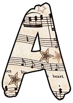 ArtbyJean - Vintage Sheet Music: Vintage Music Alphabet and Numbers