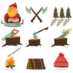 Lumberjack, timber and woodworking tools... | Premium Vector #Freepik #vector #tree #wood #character #cartoon Cartoon Icons, Tree Stump, Chainsaw, Icon Set, Axe, Woodworking Tools, Projects, Character, Tools For Working Wood
