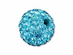 12mm Beadelle Aquamarine Crystal Candy Pavé Round Bead