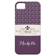 Elegant Purple White Fleur de Lis Cases For Galaxy S5 #galaxys5case #fleurdelis #purple