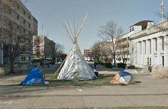 """Occupy Lincoln"", Nebraska State Capitol, Lincoln, Nebraska /  40°48'37.09""N 96°41'58.88""W (Google Earth Street View)"