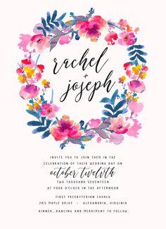 Watercolor Floral Wedding Invitation Suite // DIY, Rustic, Boho Chic, Garden, Calligraphy, Invite Kit, Printable Set