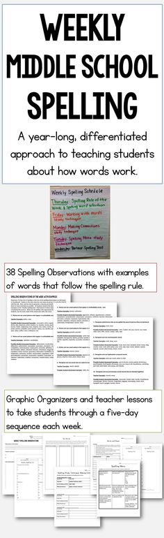 Weekly Middle School Spelling program with 38 spelling principles to teach students (one per week), options for differentiation, and detailed lessons and graphic organizers for each week's activities. Middle School Activities, Middle School Reading, Middle School English, Middle School Science, Spelling Lists, Spelling Activities, Spelling Words, Spelling Ideas, Listening Activities