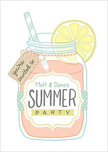 flat cards summer party invitations mason jar mpix cards