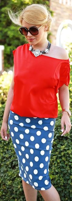 Sheinside Blue And White Polka Dot Pencil Midi Skirt by Fashion Painted Dreams