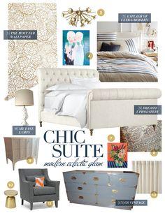 chic suite mood board for a master bedroom. oh joy wallpaper. restoration hardware bed. vintage furniture. west elm bedding.