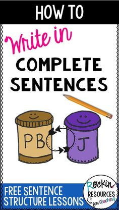 teaching tips and ideas for writing in complete sentences and using subjects and predicates! Subjects and predicates go together like peanut butter and jelly! This is a series of writing lessons with links to other sentence structure activities. Writing Complete Sentences, Writing Mini Lessons, Paragraph Writing, Narrative Writing, Persuasive Writing, Teaching Writing, Teaching Tips, Writing Sentences, How To Teach Writing